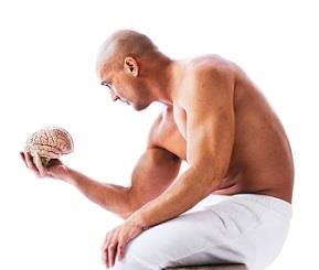 Fit Man Holding Brain
